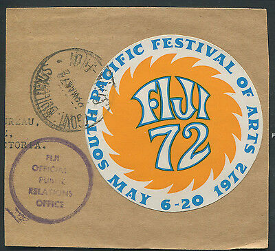 Fiji 72 South Pacific Festival of Arts 1972 label on cover piece