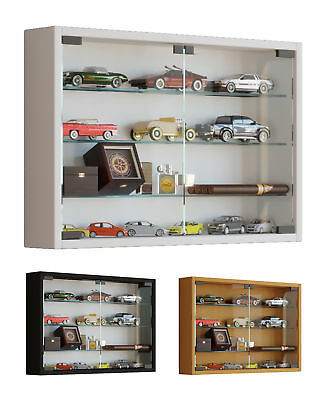 Glass Display Cabinet Wall Mounted Wide Toys Vapes Various Colours Light Option