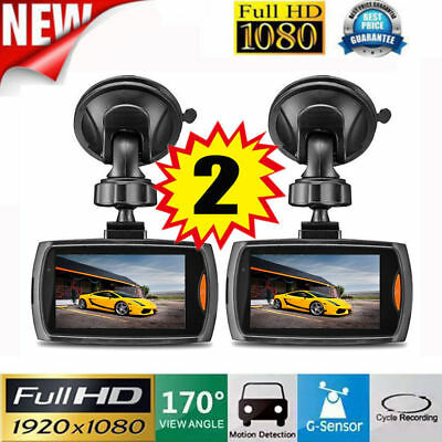 2x Car 1080P Full HD DVR Vehicle Camera Dash Cam Video G-sensor Night Vision