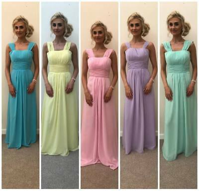 Chiffon Pastel Bridesmaid Wedding Maxi Dress Formal Party Prom Evening Ballgown