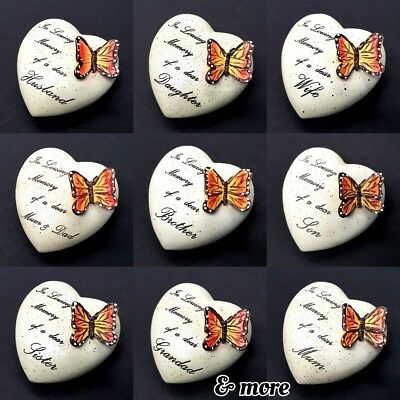 ❤HEART MEMORIAL ORNAMENT Graveside Butterfly 8cm Loving Memory Grave Remembrance