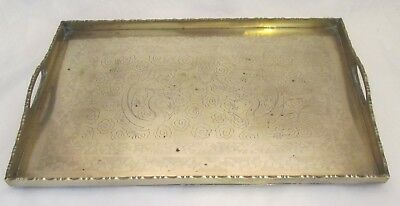 A Fine Vintage Brass Tray - Engraved Chinese Dragons