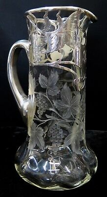 Vintage Early 20th Century Sterling Overlay Wine Pitcher