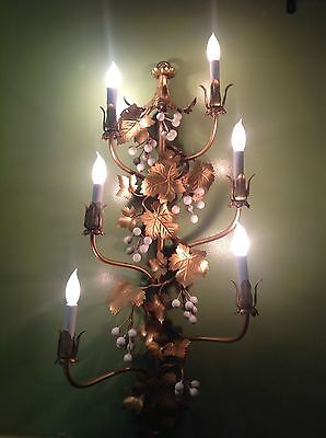 Vintage Italian  Hollywood Regency Grapes In A Vine 6'Light Wall Sconce