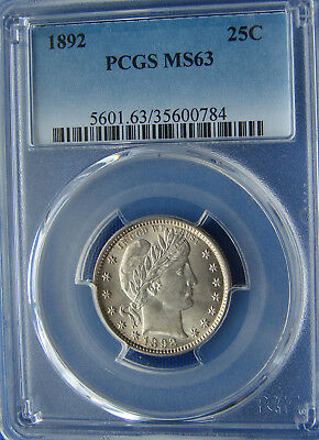 *very Stunning Looking 1892 Barber Quarter - Ms-63 - Pcgs*