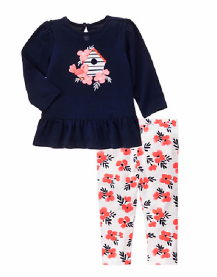 NWT Gymboree Blooms and Boats 2PC Outfit Baby Girl 3-6 or 6-12 month