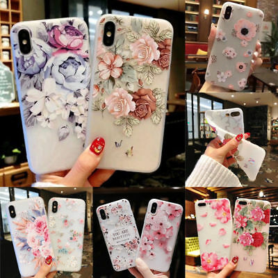 For iPhone X 8 7 6s Plus 3D Cute Rubber Soft Silicone Pattern Flower Case Cover