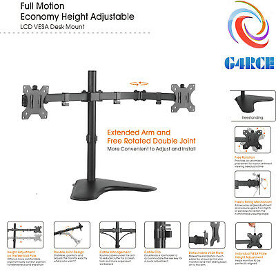 """Dual Universal Screen PC Twin Monitor Stand Desk Mount LCD LED Display 13-32"""""""