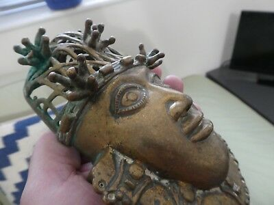Early 20th century Bronze African head sculpture /mask