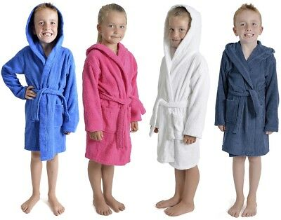 Boys Girls Kids Bath Robe Dressing Gown 100% Cotton Age Size 7-13 Years