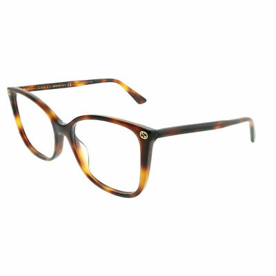 e2cc004ff357 New Authentic Gucci GG0026O 002 Havana Plastic Square Eyeglasses 53mm