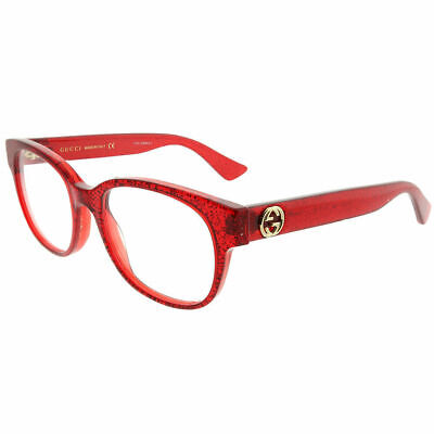 New Authentic Gucci GG0040O 004 Red Glitter Plastic Square Eyeglasses 51mm