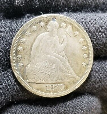 1870 Seated Dollar XF/XF+ DETAIL HOLED