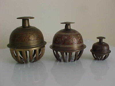 Trio Of Old Brass Claw Elephant Bells