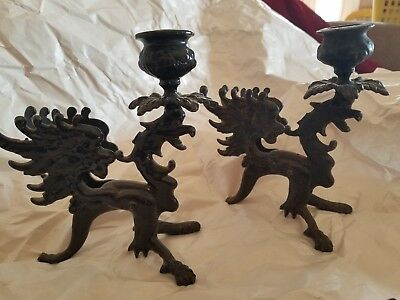 Pair Of Black Griffin Candle Holders