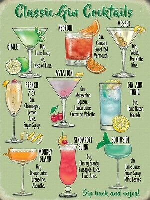 Gin Cocktails Metal Wall Sign (3 sizes - Small / Large and Jumbo)