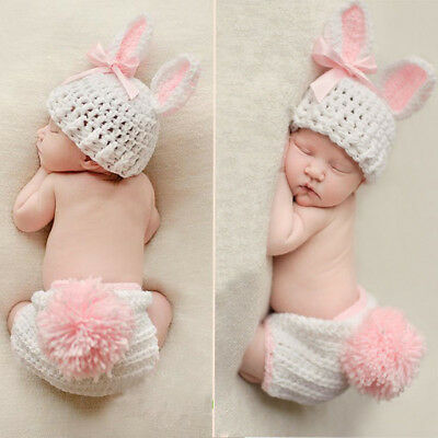 Newborn Photo Props Crochet Knit Infant Beanie Hat Cap Trousers Costume Outfit