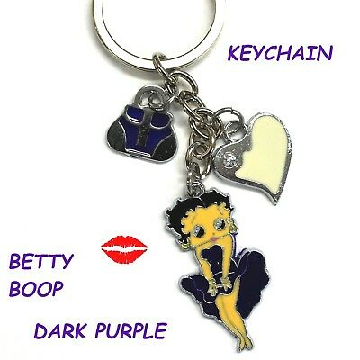 Sexy Betty Boop Purple Purse White Heart Keychain Keyring Bag Car Charm New