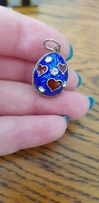 Antique russian silver enamel Egg Pendant with hearts