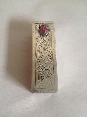 Vintage Antique 800 Silver Lipstick Case Holder Compact With Mirror Cabochon