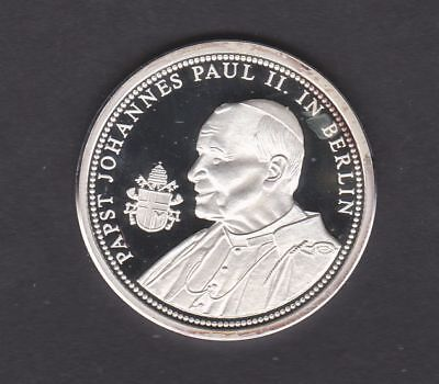 Papst Johannes Paul II.in Berlin Medaille in PP  - 1000er Silber - 15g - 35mm
