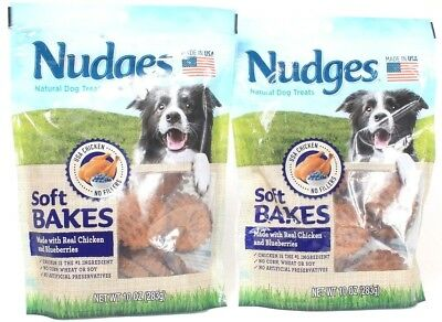2 Nudges Dog Treats Soft Bakes Real Chicken Blueberries 10 oz Best By 2-28-19