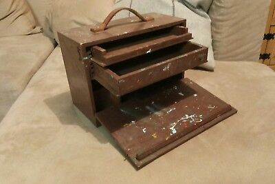 Vintage Wooden Artists Art Storage Paint Tool Box Case Retail Display Chest