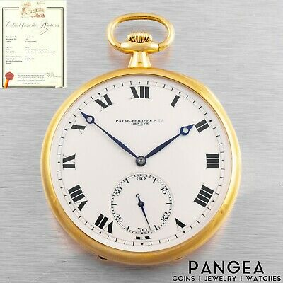 Antique 1917 Patek Philippe Geneve Solid 18k Gold Pocket Watch with Papers 52mm