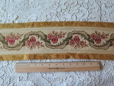 "Antique (1870) French Roses & Ribbons Woven Silk Jacquard Border Fabric~2yds13""L"