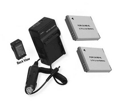 TWO 2x Batteries + Charger for Canon PowerShot SX530 HS, SX540 HS,