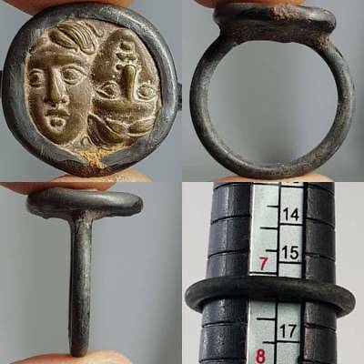 Beautiful Ring With Old 2 Faces Bronze Wonderful Coin   # 1y