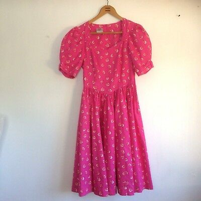 Laura Ashley Dress Size 12 Pink Floral Cotton Lined Bodice Puff Sleeves Vintage