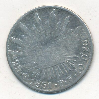 1851 Mexico Silver 2 Reales-A Nice Circulated 19Th Century Coin-Ships Free!