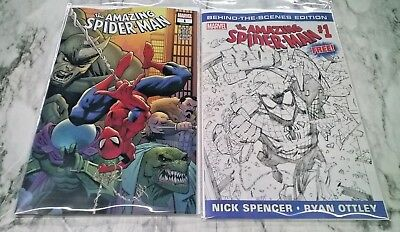 Amazing Spider-Man #1A + Behind The Scenes Variant NM/NM+Marvel Comics 2018