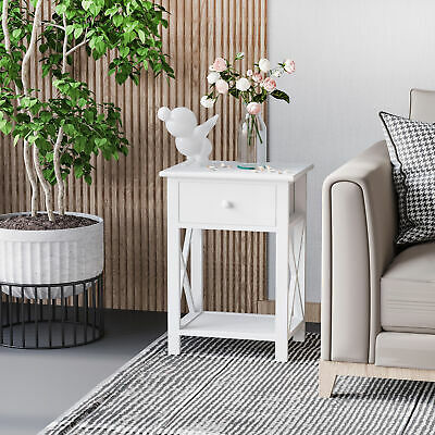 End Table Night Stand Side Table Open Cabinet White