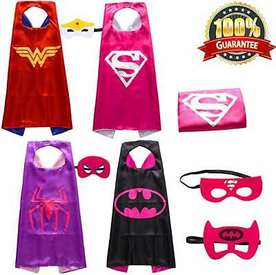 4 Set Superhero Capes and Masks for Kids Girls Dress Up Costumes Christmas Party