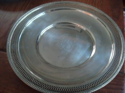 "Antique Sterling Tray 9 1/2"" Diameter 200 grams  Monogrammed"