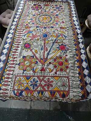 Vintage Ethnic Tribal Mirrored Wall Hanging India/Birds/Flowers/Fish