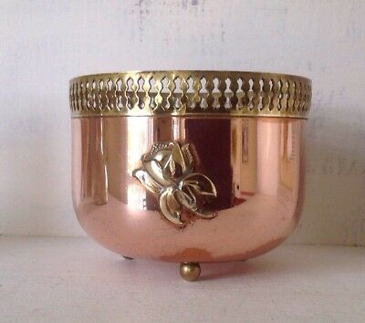 """Vintage Copper & Brass Footed Container Planter Flower Pot 4"""" Tall x 5"""" Wide #1"""