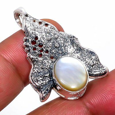 """Mother Of Pearl Vintage Style 925 Sterling Silver Pendant 1.46""""(130-93)"""