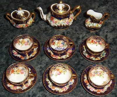 rare 15 piece CROWN STAFFORDSHIRE porcelain MINIATURE TEASET imari pattern 2765
