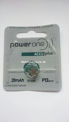 Powerone Accu Plus Rechargeable Hearing Aid Batteries Brand NEW. Size 312 / 13