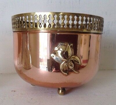 """Vintage Copper & Brass Footed Container Planter Flower Pot 4"""" Tall x 5"""" Wide #2"""