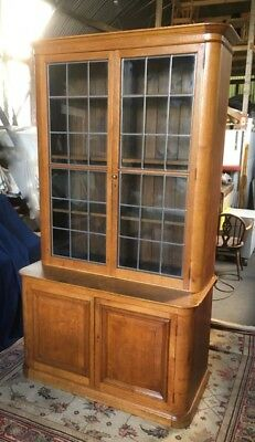 Vintage Glazed Bookcase, Large Oak Bookcase, Antique Victorian Book Cupboard