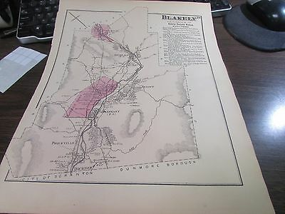Original 1873 Blakely Pa Map  - Plus Business Notices - Excellent