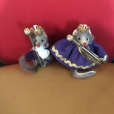 "Vintage Pair of Royal Queen & King Mice Mouse Original Fur Toys"" Mice W. Germany"
