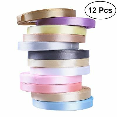 12PCS Satin Ribbon 25Yards 10MM Wide Multi Colours Craft Wedding Gift Wrapping