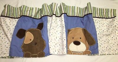 "PUPPIES BABY ROOM Nursery Toddler VALANCE By Carter's Blue Green 58""W X 14""L"