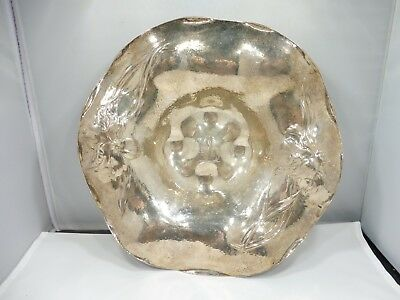 Marcus And Company Art Nouveau Sterling Silver Bowl With Orchids 14.6 T Oz