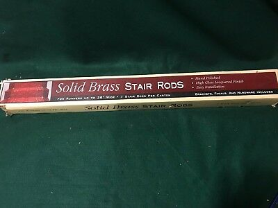 Beautiful Set Of 7 Vintage Brass  Stair Rods And 14 Brackets New In Box